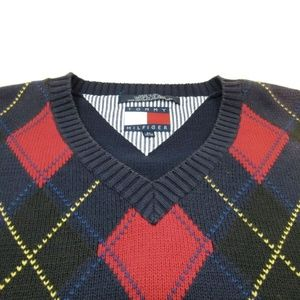 Tommy Hilfiger Sweaters - Tommy Hilfiger Argyle Sweater Vest Red Blue Yellow